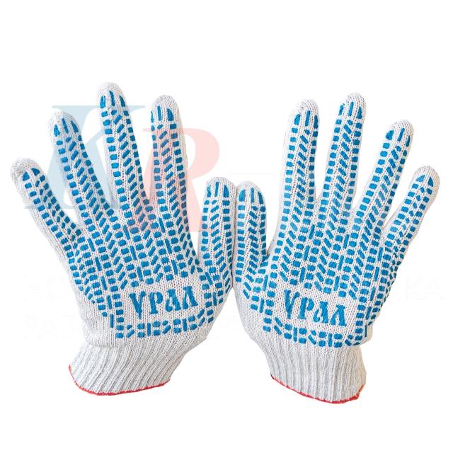 Перчатки рабочие х/б 4 нити 200 текс с ПВХ покрытием  100 % хлопок